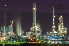 Oil Refinery industry plant with the boat parking near riverside Royalty Free Stock Images