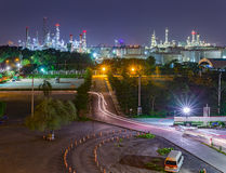 Oil refinery industry plant panorama picture at night Royalty Free Stock Images