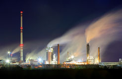 Oil refinery industry plant with smokestack Stock Photography