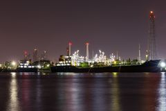 Oil refinery industry plant. View of gas processing factory. Oil and gas. Night oil refinery industry plant. View of gas processing factory. Oil and gas industry royalty free stock photo