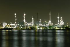 Oil refinery industry plant. View of gas processing factory. Oil and gas. Night oil refinery industry plant. View of gas processing factory. Oil and gas industry royalty free stock image
