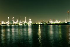 Oil refinery industry plant. View of gas processing factory. Oil and gas. Night oil refinery industry plant. View of gas processing factory. Oil and gas industry royalty free stock photos