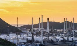 Oil refinery industry at twilight. royalty free stock images
