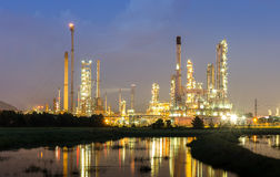 Oil refinery industry with twilight time Stock Photos