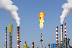 Oil refinery in a large chemical industry Stock Images