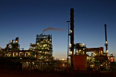 Oil refinery by night Royalty Free Stock Photo