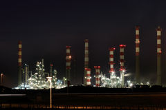 Oil refinery by night Stock Image