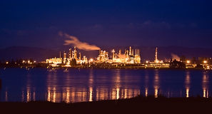 Oil Refinery at Night Anacortes. Oil Refinery at Night at Anacortes on the Puget Sound in Washington State Royalty Free Stock Photo