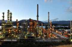 Oil refinery at night, Burnaby royalty free stock photo