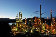 Oil refinery at night, Burnaby Royalty Free Stock Photos