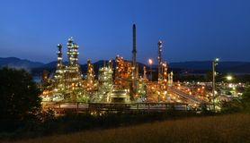 Oil refinery at night, Burnaby Stock Photography