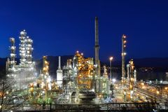 Oil refinery at night, Burnaby Royalty Free Stock Photography