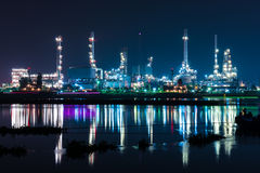 Oil refinery at night, heavy industry scene Royalty Free Stock Photography
