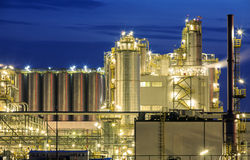 Oil refinery at night Royalty Free Stock Images