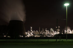 Oil refinery at night Royalty Free Stock Photo