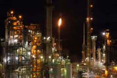 Oil Refinery Night Stock Photography