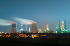 Oil refinery at night. Polluting atmosphere in Ploiesti, Romania stock photos