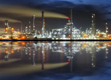 Oil refinery at night Stock Image