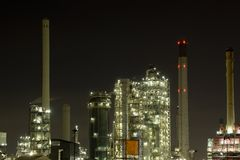 Oil refinery night scene. Oil refinery at Pernis near Rotterdam Royalty Free Stock Images