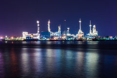 Oil refinery at night scene Stock Image