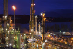 Oil Refinery Night Shift Energy Royalty Free Stock Image