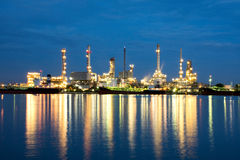 Oil refinery. Night, sunset, Thailand Royalty Free Stock Images