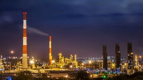 Oil refinery night timelapse stock video footage