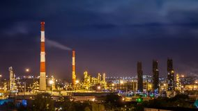 Oil refinery night timelapse stock footage