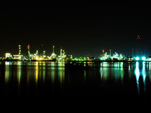 Oil refinery. Nightlight Royalty Free Stock Photo