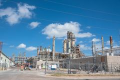 Oil refiner cloud blue sky Corpus Christi, Texas, USA Stock Photo