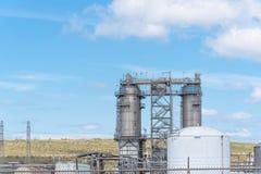 Oil refinery column un er cloud blue sky in Pasadena, Texas, USA. Oil refinery, oil factory, petrochemical plant in Pasadena, Texas, USA under cloud blue sky Stock Photography
