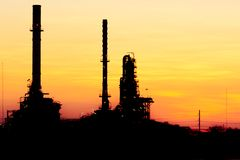 Oil refinery. Oil refinery And evening light royalty free stock photos