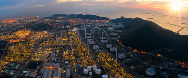 Oil refinery and oil tank and chemical plant from air bird eye v Stock Photo