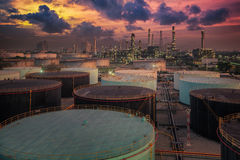 Oil refinery and oil thank Stock Image