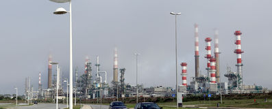 Oil refinery panorama Stock Images