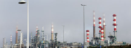 Oil refinery panorama Royalty Free Stock Images