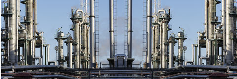 Oil refinery panoramic view Royalty Free Stock Images
