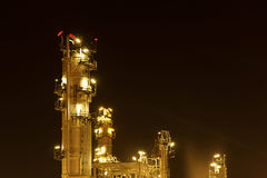 Oil refinery petrochemical industry night scene. Oil refinery close up Royalty Free Stock Photo