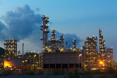 Oil refinery petrochemical industry night scene. Oil refinery close up Stock Photo