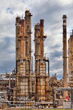 Oil refinery petrochemical industry plant. Oil refinery petrochemical chemical industry fuel distillation of petrol industrial plant Royalty Free Stock Photo