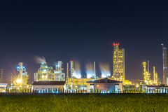 oil refinery and petrochemical plant with cooling tower in twili stock image