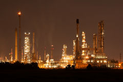 Oil refinery, petrochemical plant at industial estate night time Royalty Free Stock Photo
