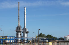 Oil refinery petrochemical plant Stock Photos
