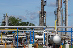 Oil refinery petrochemical plant pipelines Royalty Free Stock Photos