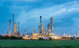 Oil refinery and Petroleum industry at night. Petrochemical industrial royalty free stock images