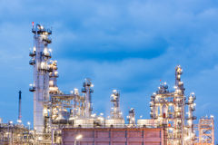 Oil refinery and Petroleum industry at night time. Sunset, petrochemical industrial stock image