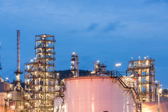 Oil refinery and Petroleum industry at night time Stock Photography