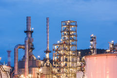Oil refinery and Petroleum industry at night time. Sunset, petrochemical industrial stock photos
