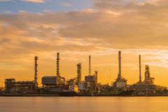 Oil refinery or petroleum refinery industrial process plant with Stock Photography