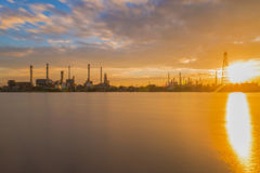 Oil refinery or petroleum refinery industrial process plant with Royalty Free Stock Image